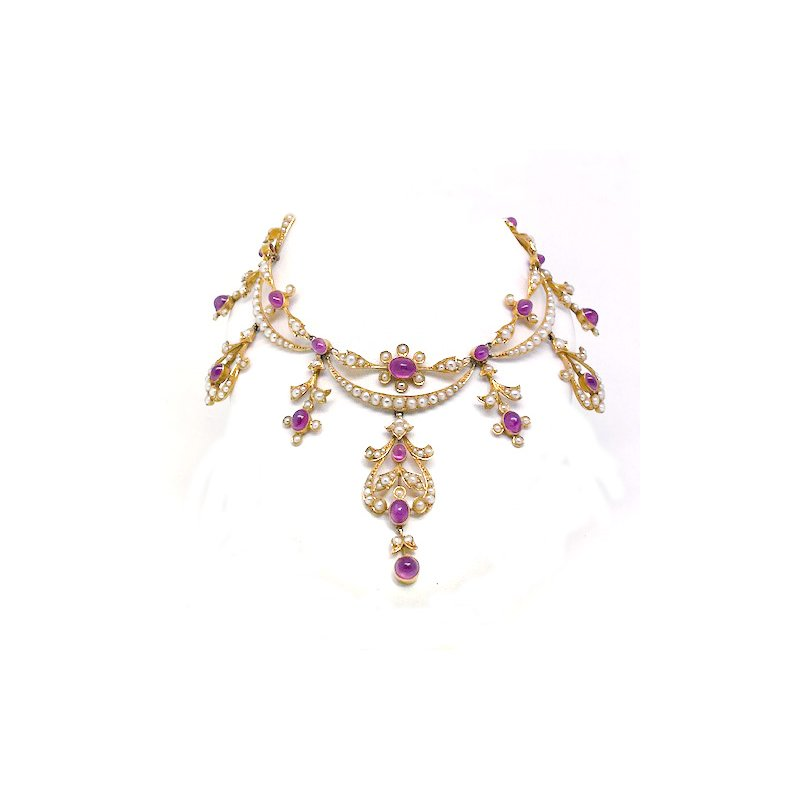 Estate & Vintage Lady's Victorian design, pink sapphire and seed pearl festoon necklace