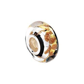 Kera Silver, Black & Gold Murano Glass Bead