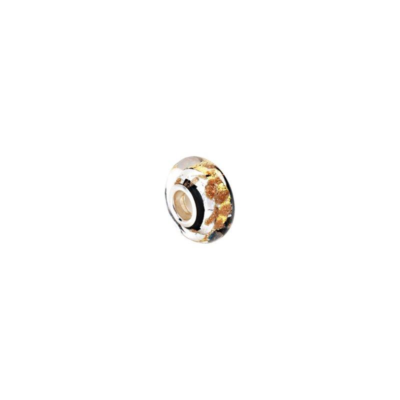 Holiday Ideas Kera Silver, Black & Gold Murano Glass Bead