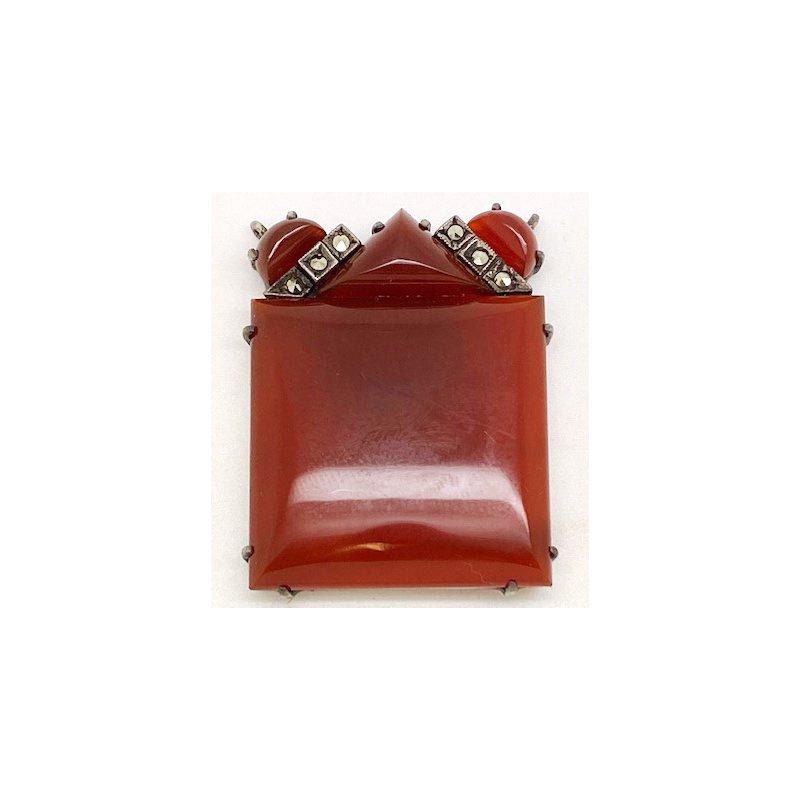Estate & Vintage Lady's vintage carnelian, marcasite and silver pendant