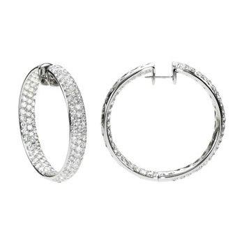 8 1/2 ct tw Diamond Inside/Outside Hoop Earrings