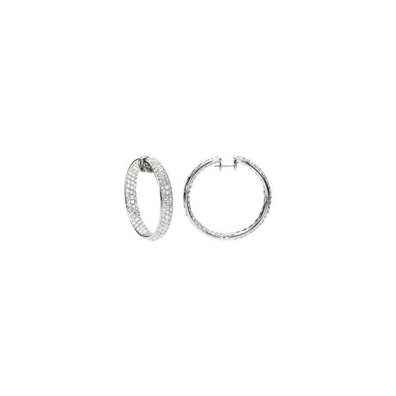 Holiday Ideas 8 1/2 ct tw Diamond Inside/Outside Hoop Earrings