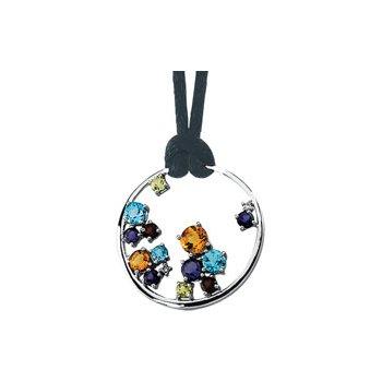 Genuine Multi-Color Gemstone Circle Necklace