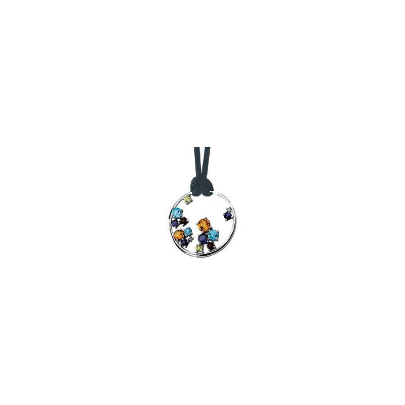 Holiday Ideas Genuine Multi-Color Gemstone Circle Necklace