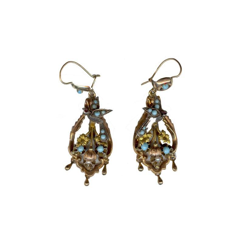 Estate & Vintage Vintage 14K White, Yellow, & Pink Gold Art Nouveau Style Earrings