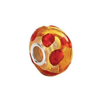 Kera Gold & Orange Murano Glass Bead