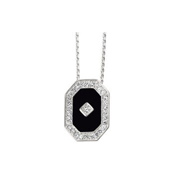 Genuine Onyx & Cubic Zirconia Necklace