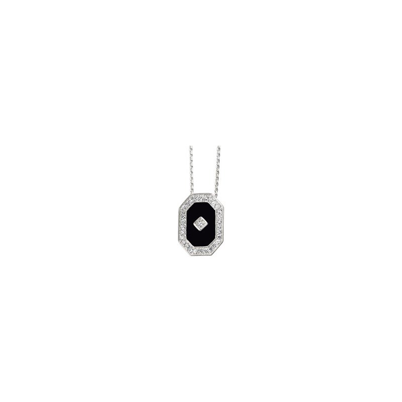 Ladies' Jewelry Genuine Onyx & Cubic Zirconia Necklace