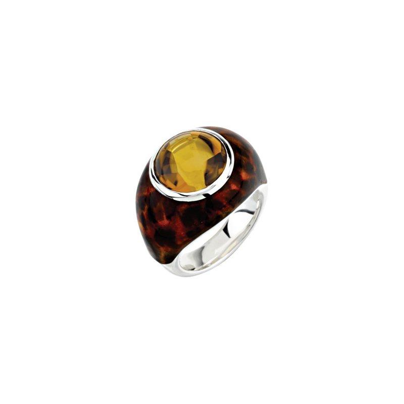 Holiday Ideas Genuine Honey Quartz Ring with Leopard Print Enamel