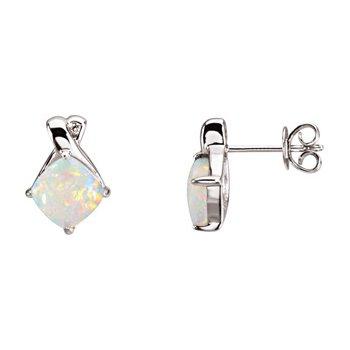 Genuine Opal & Diamond Earrings