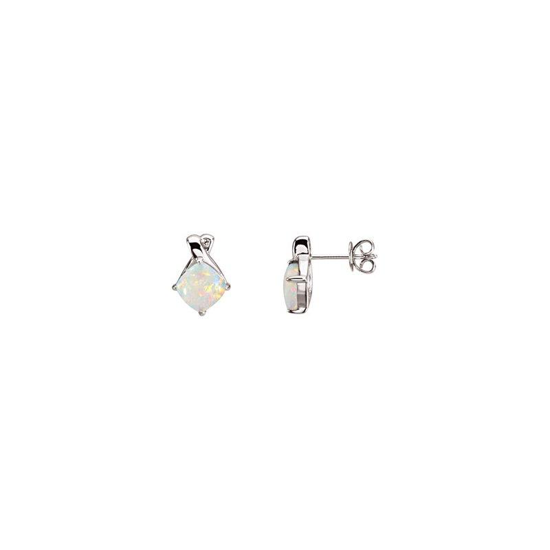 Holiday Ideas Genuine Opal & Diamond Earrings