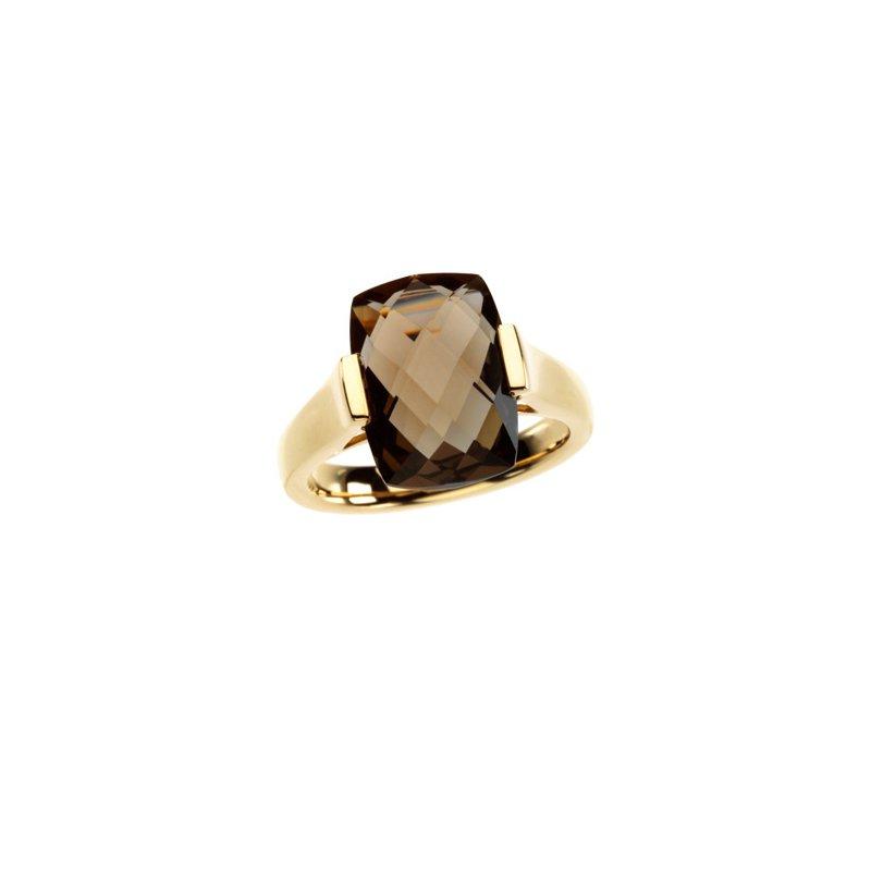 Ladies' Jewelry Genuine Checkerboard Smoky Quartz Ring