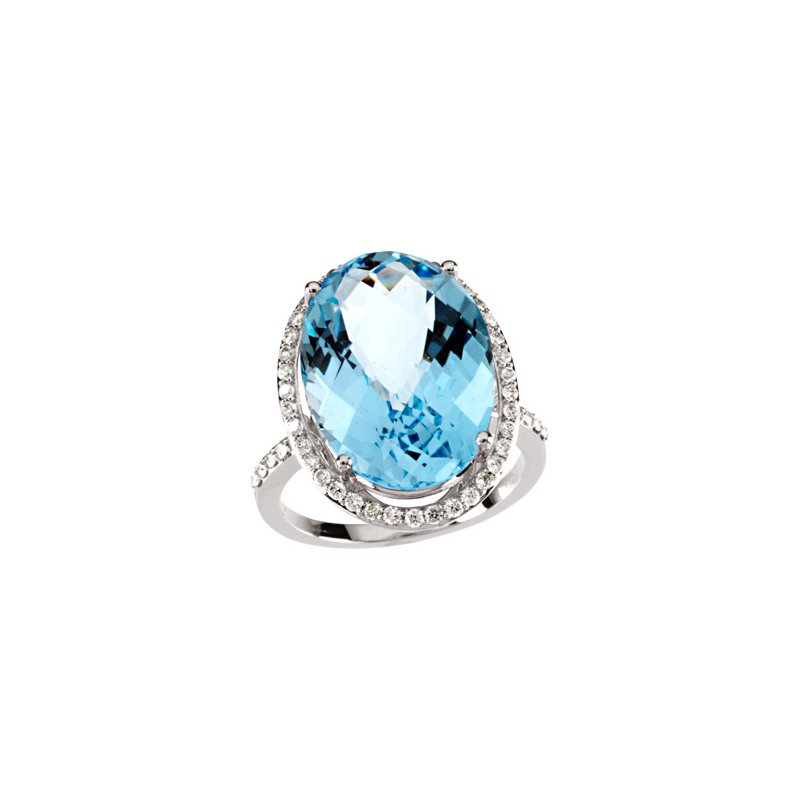 Ladies' Jewelry Genuine Checkerboard Sky Blue Topaz & Diamond Ring