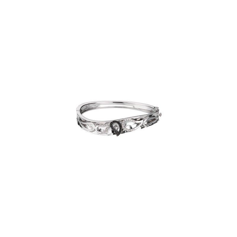 Ladies' Jewelry Black & White Diamond Bangle Bracelet