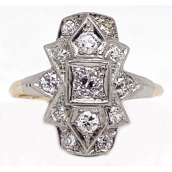 Two tone gold and diamond, Art Deco style ring