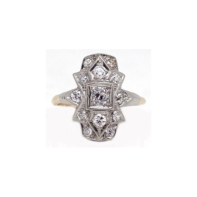 Vintage Bridal Two tone gold and diamond, Art Deco style ring
