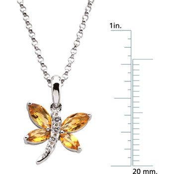 Genuine Citrine & Diamond Dragonfly Necklace