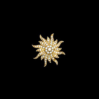 Vintage Victorian Style Brooch with Pearls and Center Stone
