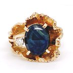 Estate & Vintage Lady's vintage yellow gold, star sapphire and diamond freeform ring