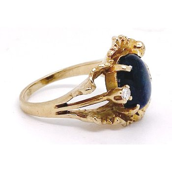 Lady's vintage yellow gold, star sapphire and diamond freeform ring