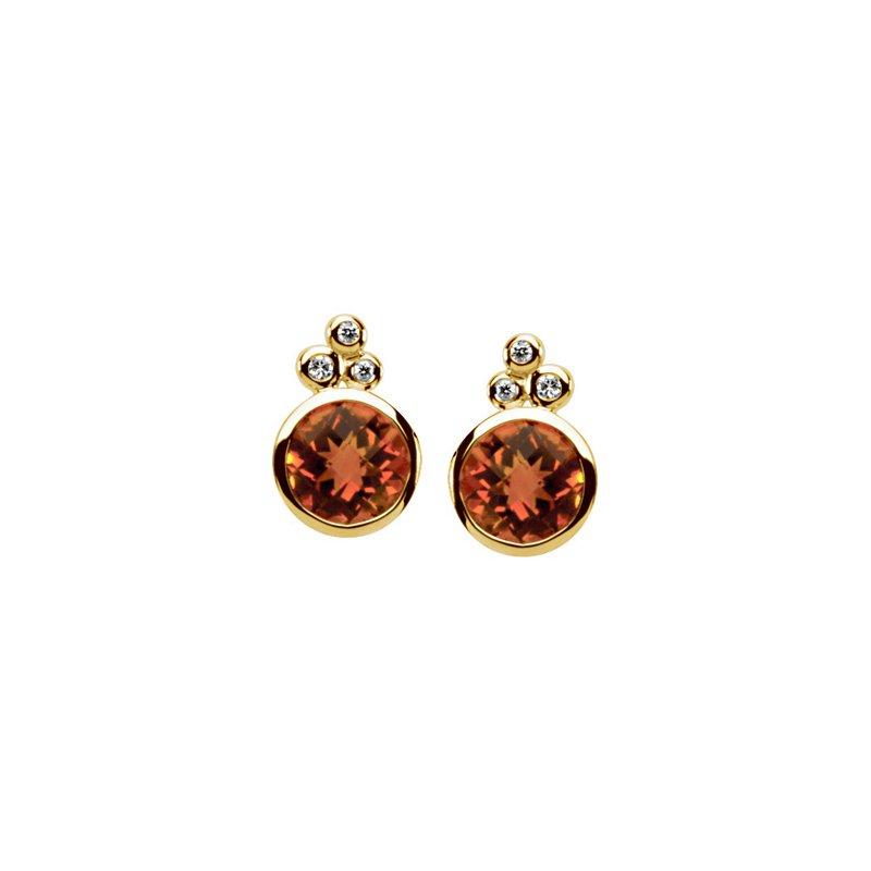 Ladies' Jewelry Genuine Checkerboard Golden Citrine & Diamond Earrings