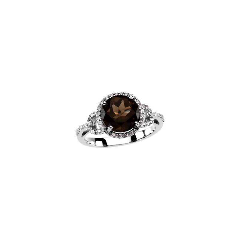 Ladies' Jewelry Genuine Smoky Quartz & Diamond Ring