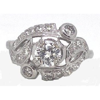 Platinum and Diamond, Art Retro style Ring