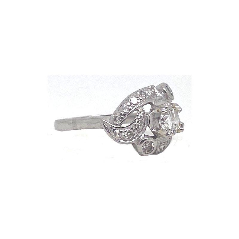 Vintage Bridal Platinum and Diamond, Art Retro style Ring