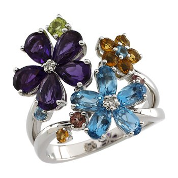 Genuine Multi Gem-stone & Diamond Flower Ring
