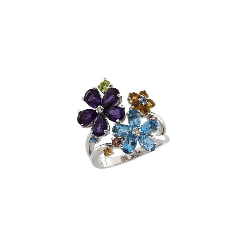 Ladies' Jewelry Genuine Multi Gem-stone & Diamond Flower Ring