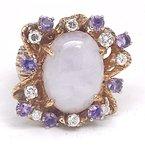 Estate & Vintage Lady's vintage purple jade, purple stones, diamond and yellow gold ring