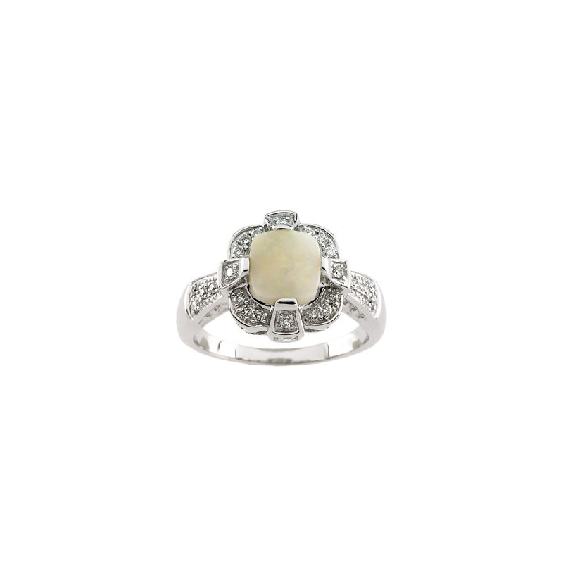 Ladies' Jewelry Genuine Opal & Diamond Ring