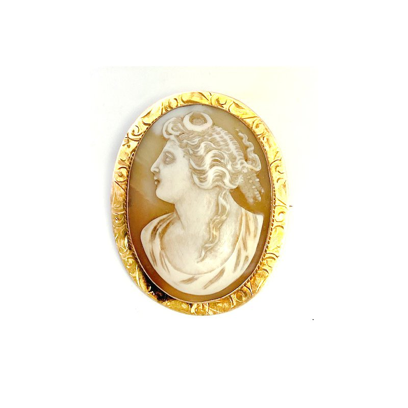 Estate & Vintage Lady's vintage cameo brooch that can also be worn as a pendant