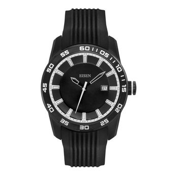 Eisen Gent's Black & White Sports Quartz Wrist Watch