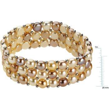 Freshwater Natural Multi-Color Cultured Pearl Bracelet