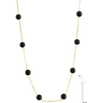 Genuine Black Onyx Station Necklace