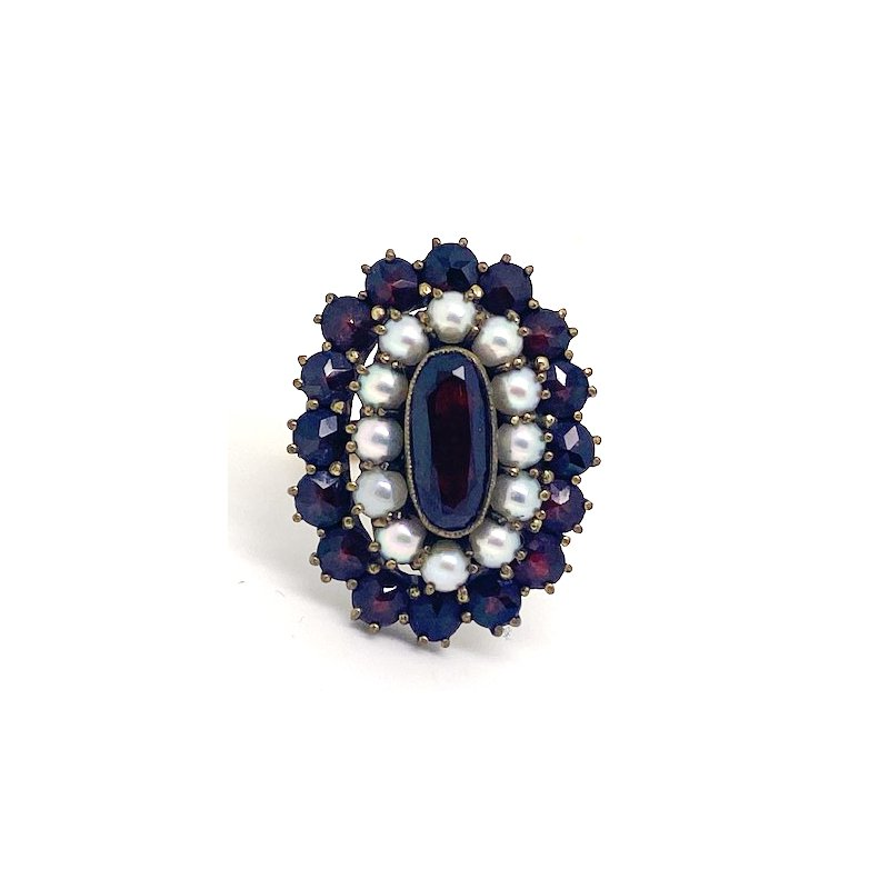 """Estate & Vintage Lady's vintage garnet, pearl, and yellow gold cluster ring, 1"""" in length"""