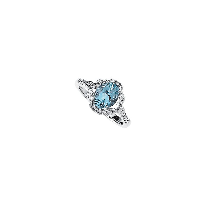 Ladies' Jewelry Genuine Aquamarine & Diamond Ring