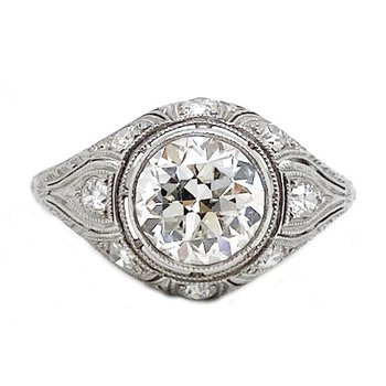 Platinum and diamond, Art Deco style, ring