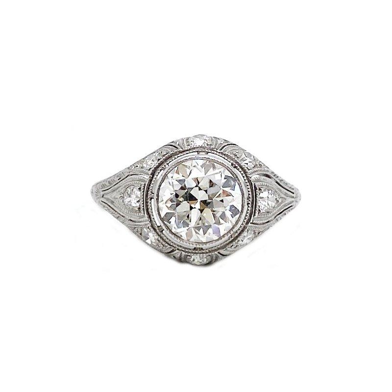 Vintage Bridal Platinum and diamond, Art Deco style, ring