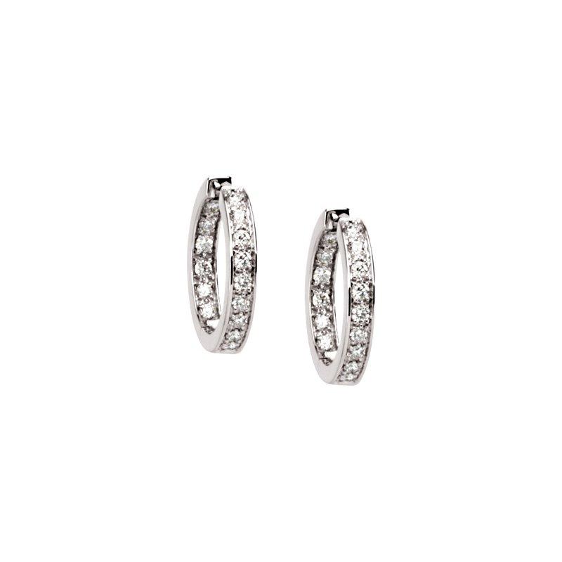 Ladies' Jewelry Diamond Inside-Outside Hoop Earrings