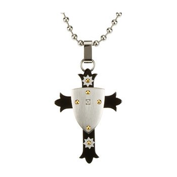 Ion Plated Diamond Cross Shield with 30 inch Bead Chain
