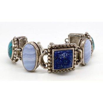 Vintage  Multi Stone and Sterling silver bracelet