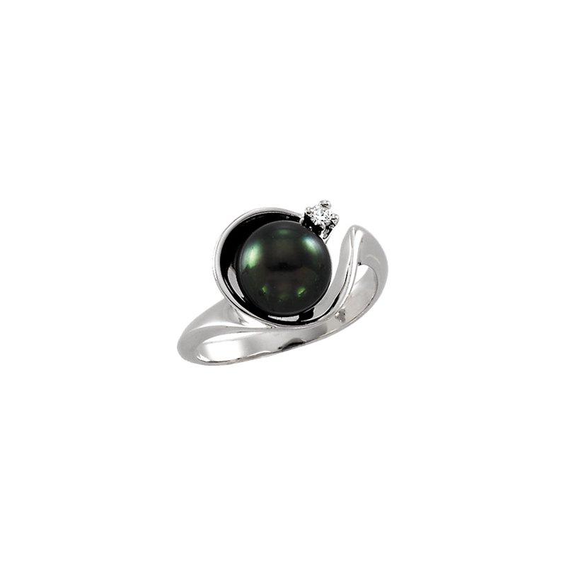 Ladies' Jewelry Akoya Cultured Pearl & Diamond Ring