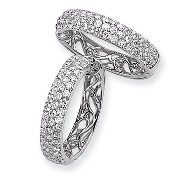 14k White Gold Diamond Hinged Hoop Earrings