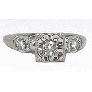 Diamond and White Gold, Vintage Bridal Ring