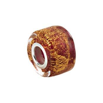 Kera Gold & Ruby Murano Glass Wheel Bead