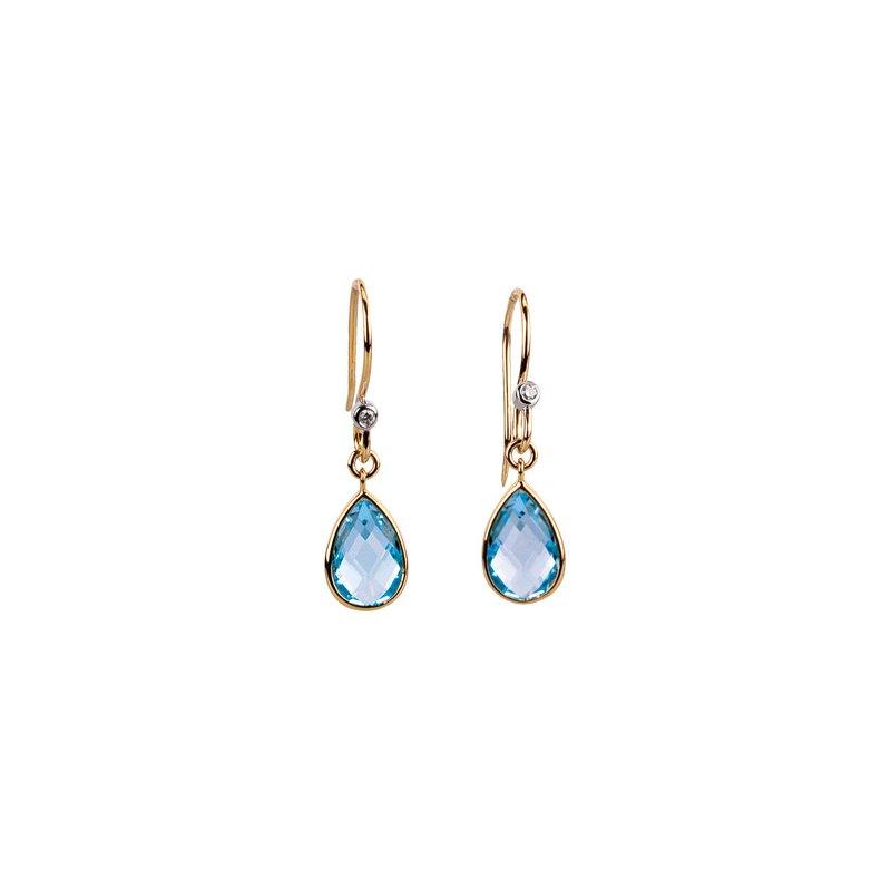 Holiday Ideas Genuine Swiss Blue Topaz & Diamond Earrings