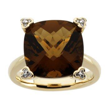 Genuine Checkerboard Cinnamon Quartz & Diamond Ring
