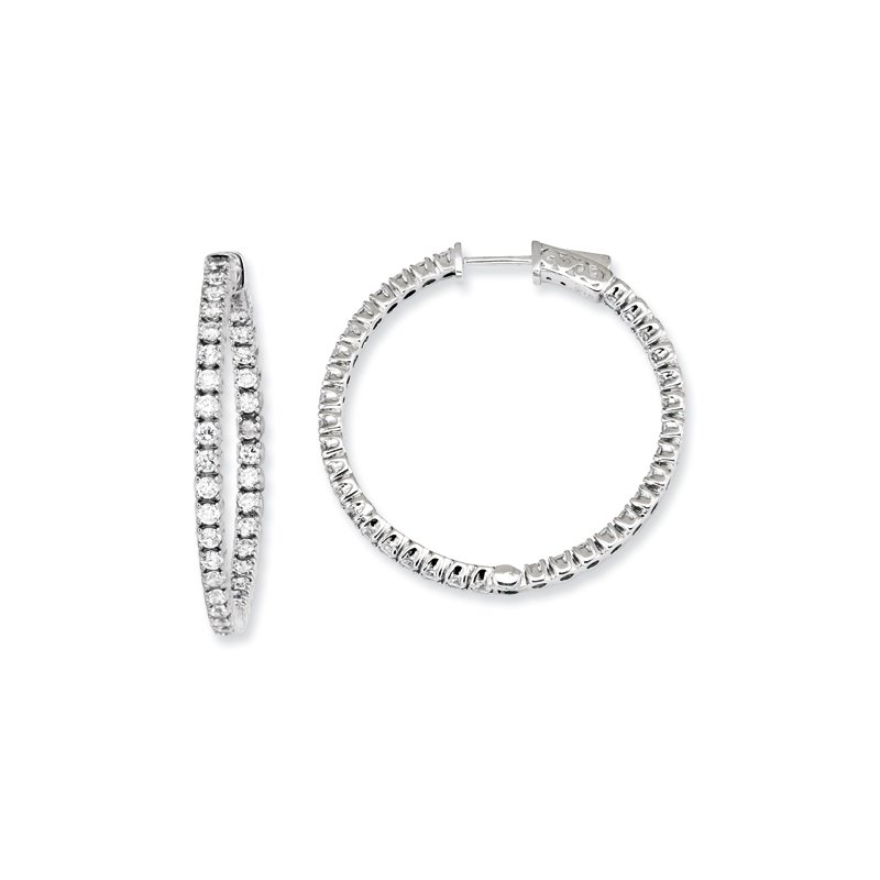 Susan Eisen Sterling Silver CZ Round Hoop Earrings